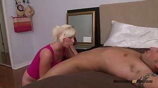Chubby Blonde Deepthroats Cock with the addition of Rations Cum