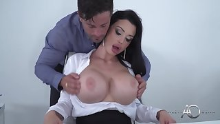 Sooty haired slutty milf secretary Aletta Ocean is sucking her manager lacking for a newspaper bonus