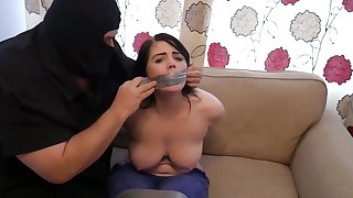 Kyla got tied up and liked the way a huge burglar was squeezing the brush tits