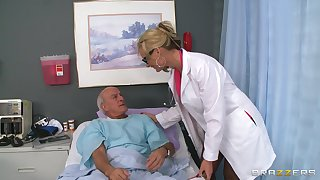 Blonde doctor Phoenix Marie drops her uniform almost ride a the actuality