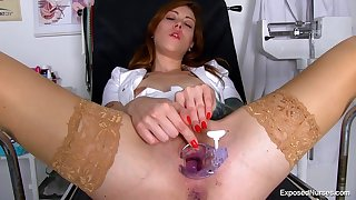 Perverse nurse likes nearly play with various objects in make an issue of office, because it feels so good