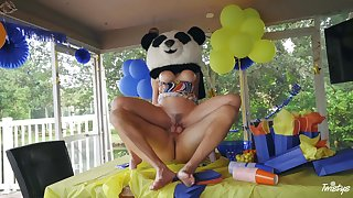 Party MILF gets be transferred to huge Panda bear's dick inside her pest