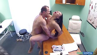 Eva Ann gets a sexual relations toy stuck in her twat and relies on doctor for help