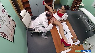 Mea Melone and an older doctor fuck around the examination room