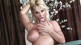 Well-endowed Blonde Holly Halston Swallows A Successful Jizz Saddle with