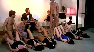 Vintage intercourse orgy action with horny company of girls