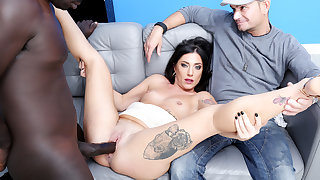 Italian Wife Sabrina Ice Makes Lowering Bull Creampie Her in Front of Cuckold