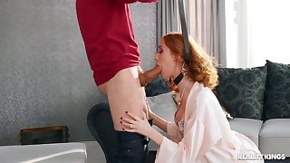Redhead gets hard fucked after being choked plus spanked