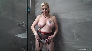 Blonde MILF suits her lust in the shower