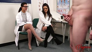 Doctor Lola Knight and her friend watch a naked man goat his cock